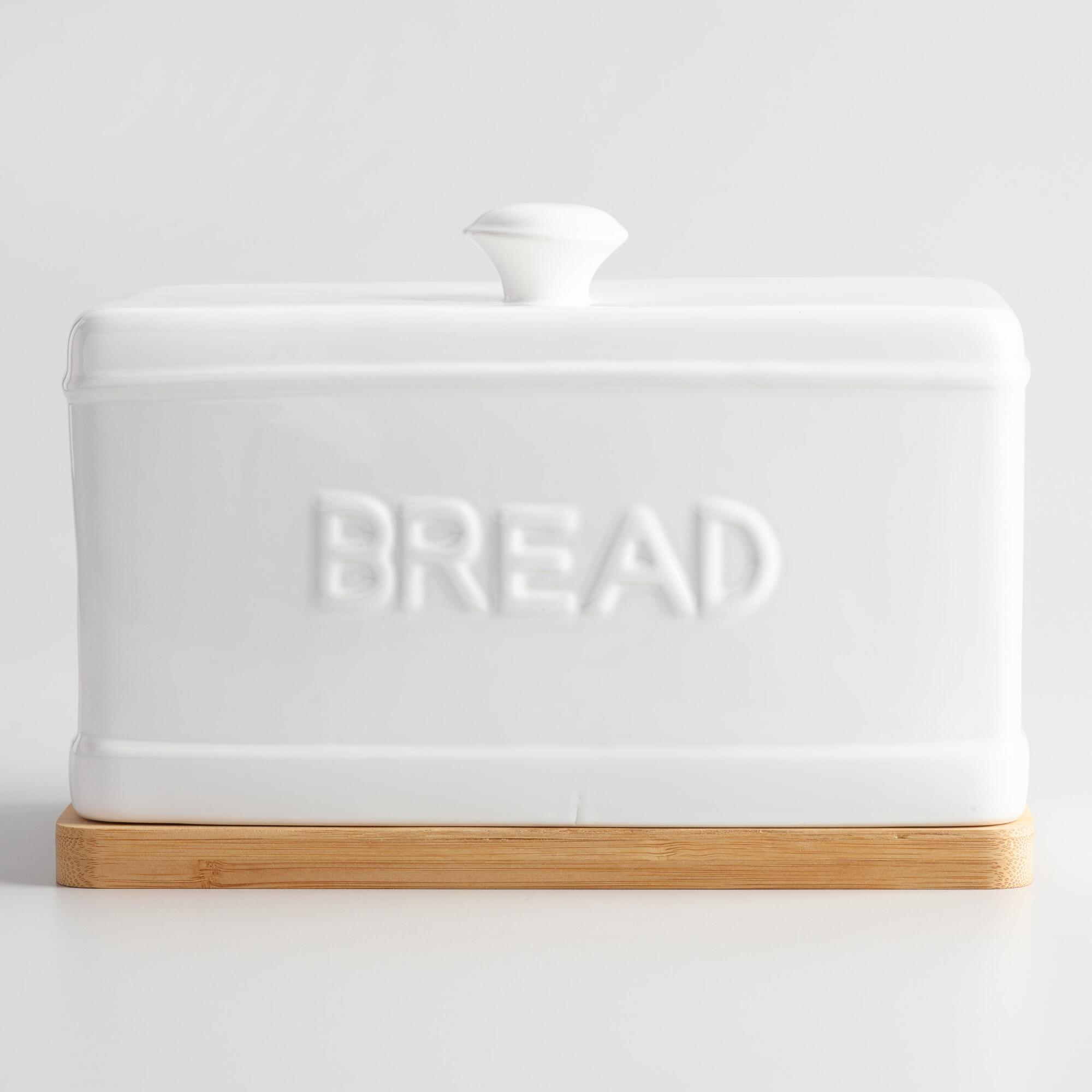 Ceramic Bread Box with Wood Cutting Board by World Market
