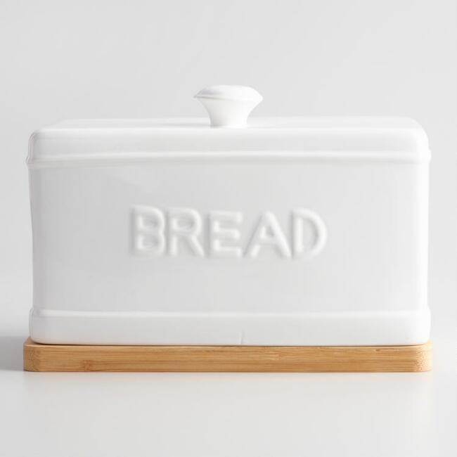 Ceramic bread box with wood cutting board world market for White ceramic bathroom bin