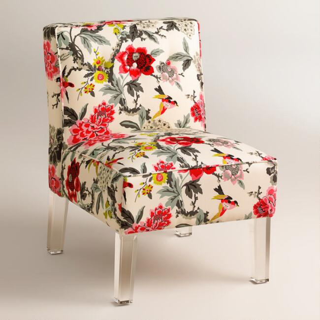 Randen Upholstered Chair in Warm-Toned Prints - Acrylic Legs
