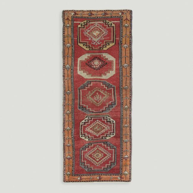 3.3'x8.2' Vintage Repeating Medallion Turkish Floor Runner