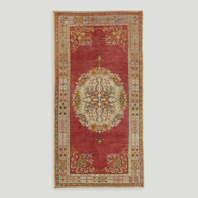 3.3'x6.3' Vintage Floral Medallion Turkish Area Rug