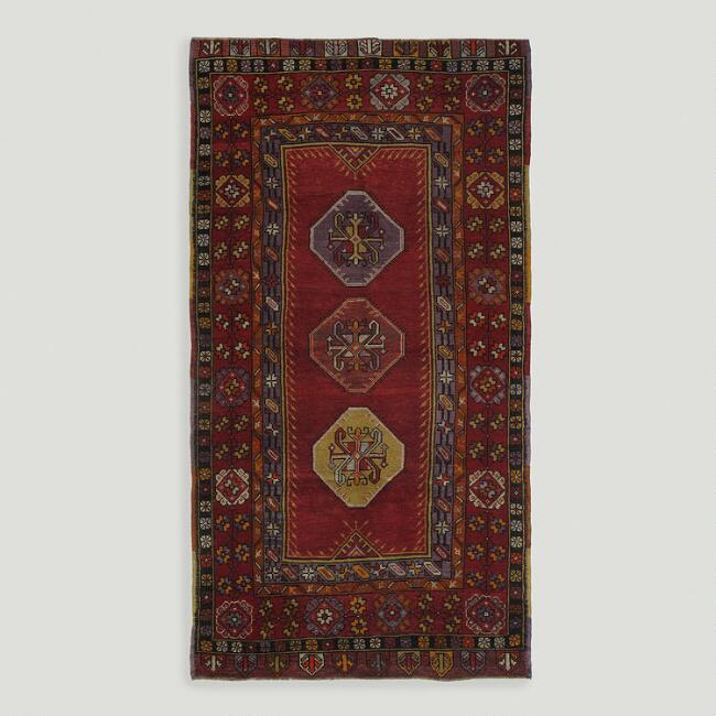 4.3'x8.3' Vintage Diamond Medallion Turkish Area Rug