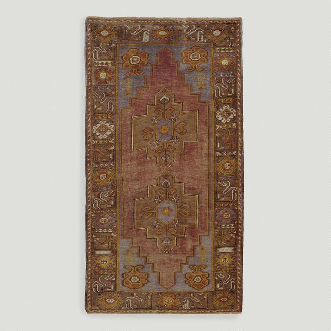 3.8'x6.9' Vintage Double Medallion Turkish Area Rug