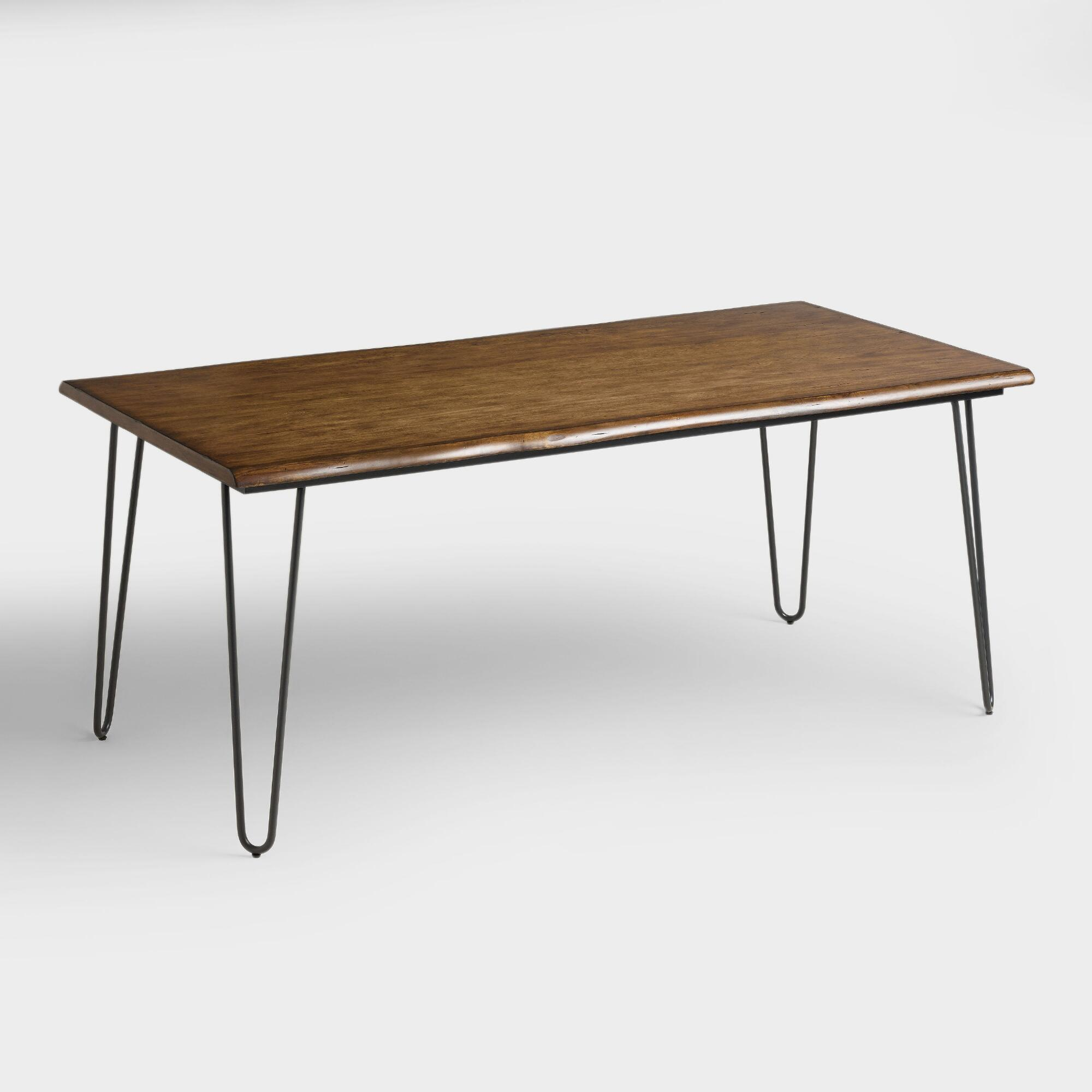 Wood Flynn Hairpin Dining Table: Brown - Metal by World Market
