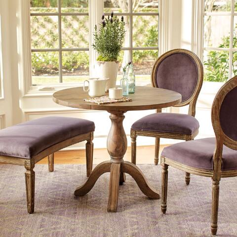 Round Weathered Gray Wood Jozy Drop Leaf Table