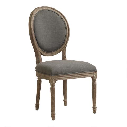 Charcoal Linen Paige Round Back Dining