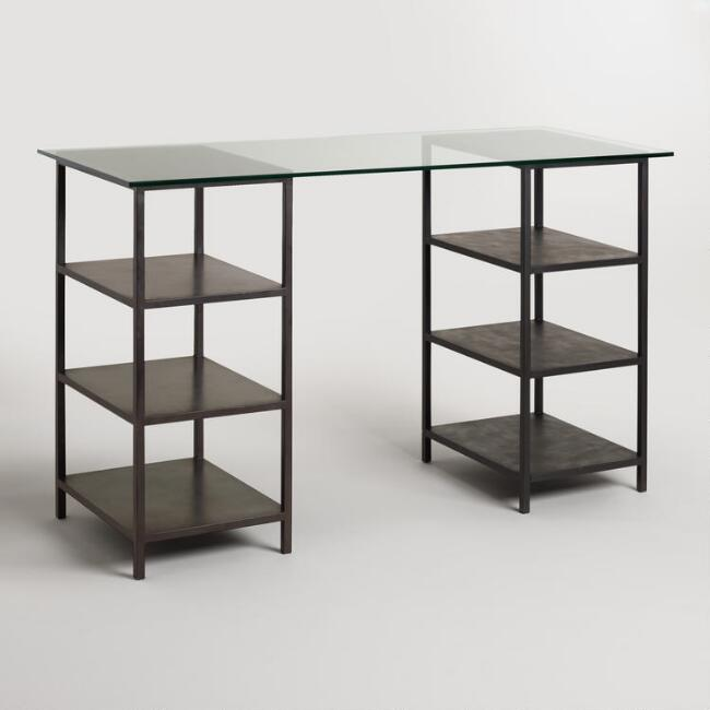 Glass Top and Craft Height Shelf Colton Mix & Match Desk