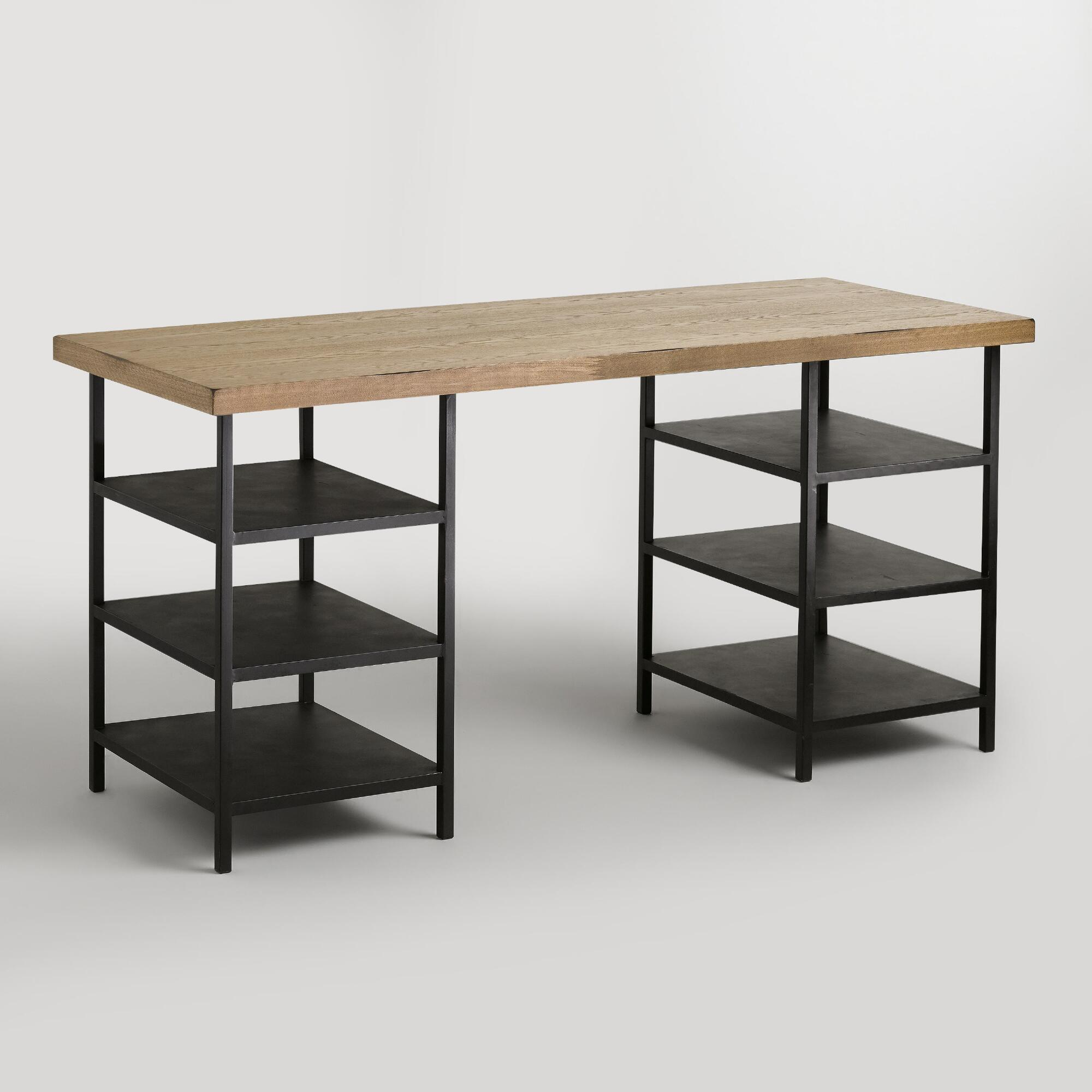 Natural Wood And Metal Shelf Colton Mix Match Desk World Market - World market industrial table