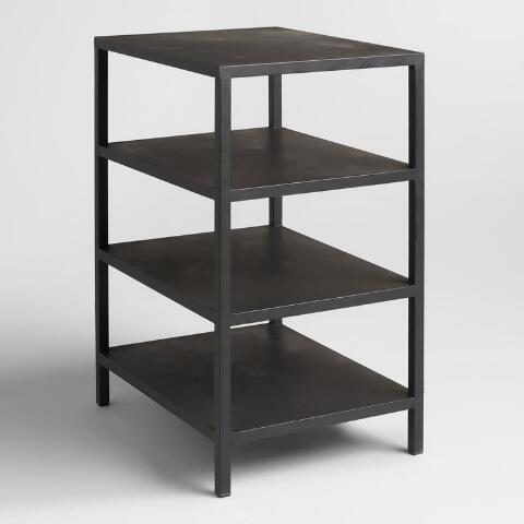 Natural Wood And Metal Shelf Colton Mix Match Desk World Market - Metal table with shelves