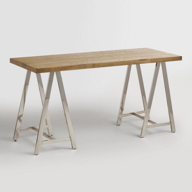 Natural Wood and Chrome Colton Mix & Match Desk