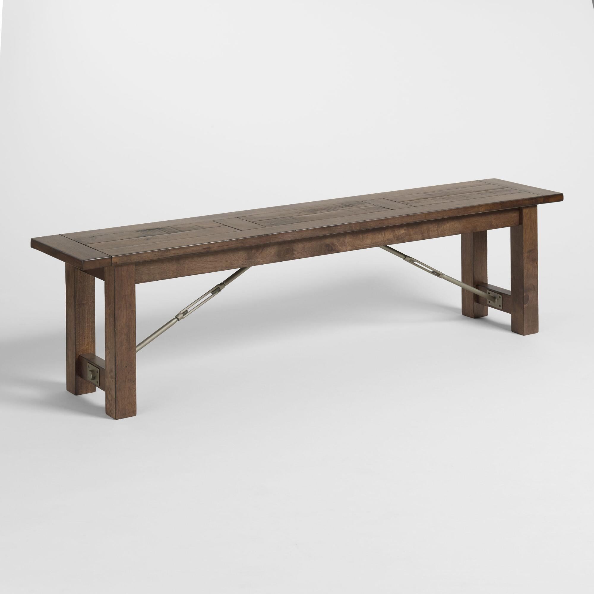 benches and ottomans  storage tufted  uphostered  world market - wood garner dining bench