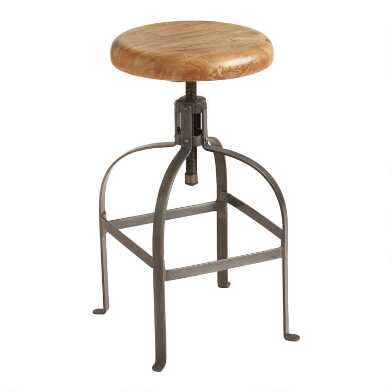 Round Wood and Metal Adjustable Stool