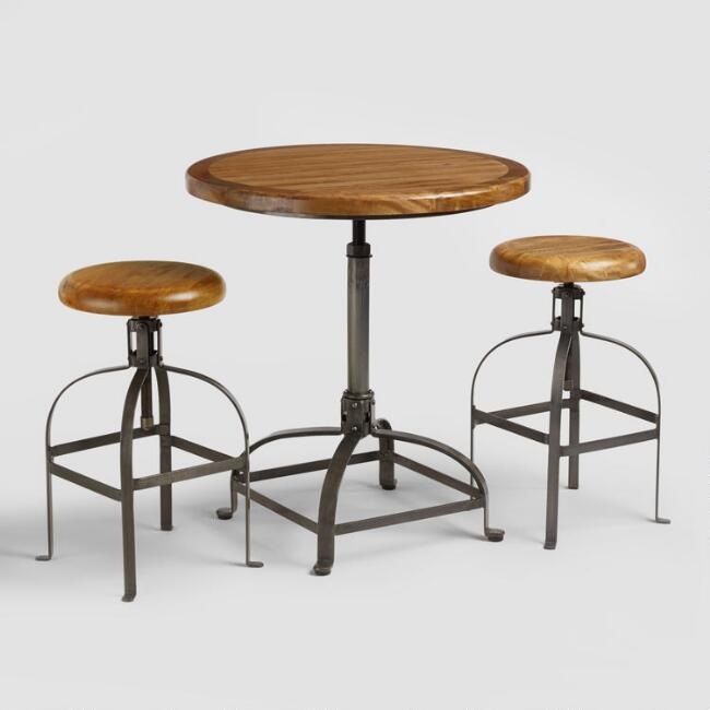 Adjustable Round Wood and Metal Dining Collection