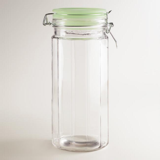 Large Glass Clamp Jars with Jadeite Lids, Set of 4
