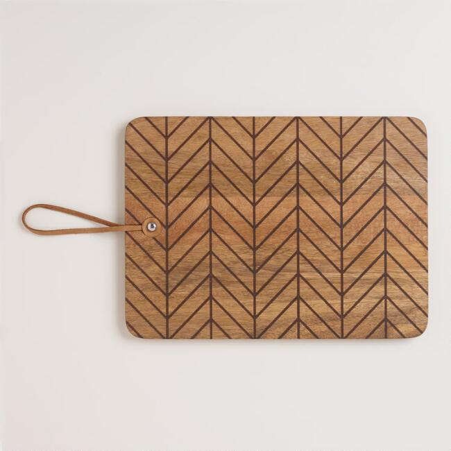 Herringbone Etched Wood Cutting Board