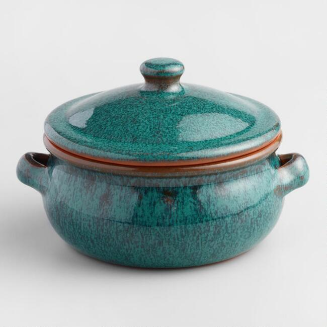 Small Peacock Reactive Glaze Belly-Shaped Baker with Lid