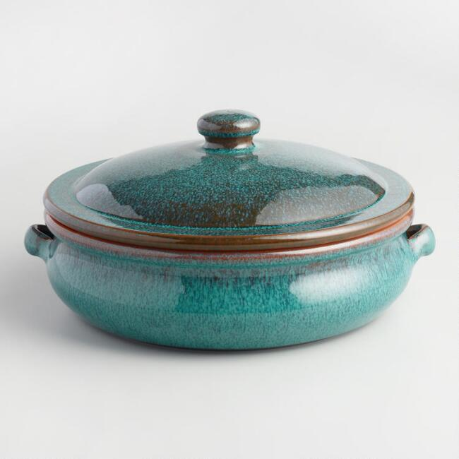 Large Peacock Reactive Glaze Belly-Shaped Baker with Lid