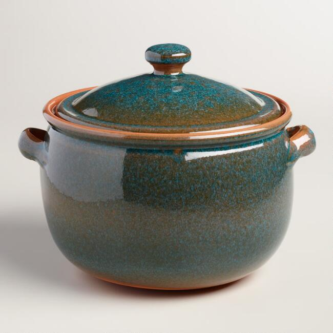 Peacock 4.5-Quart Reactive Glaze Bean Pot with Lid