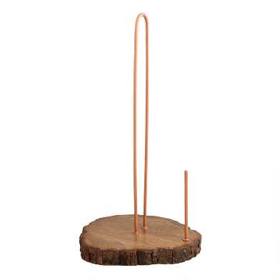 Copper And Wood Slice Paper Towel Holder