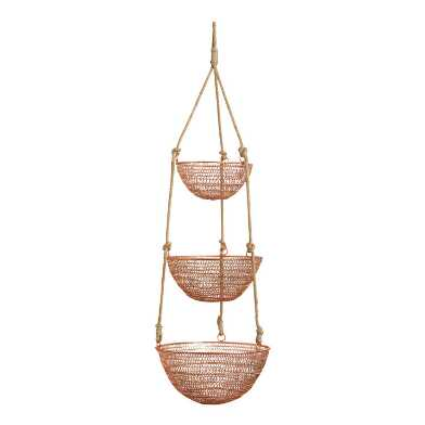 Copper And Jute Rope 3 Tier Hanging Basket