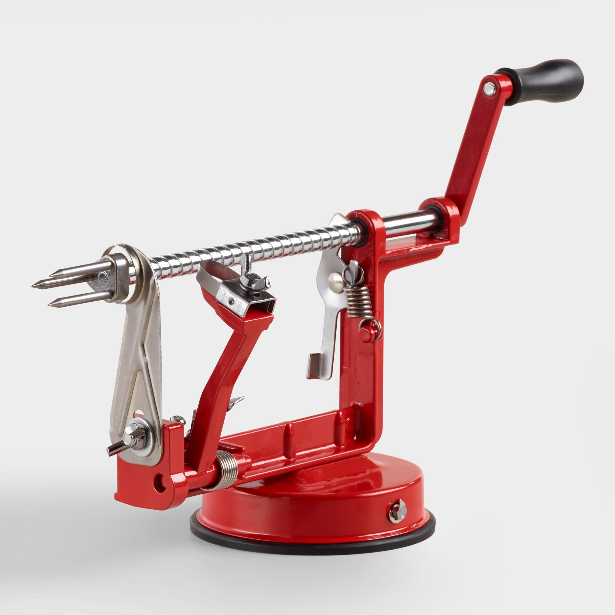 Red Enameled Cast Iron Apple Peeler, Slicer