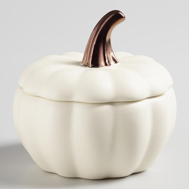 Matte White Ceramic Pumpkin Baker Set of 4
