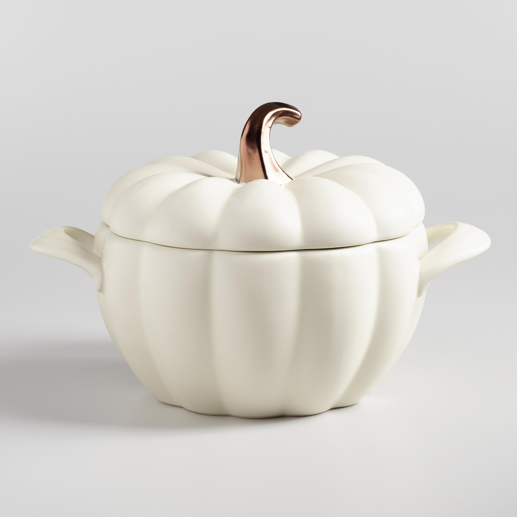 Matte White Ceramic Pumpkin Casserole Baker by World Market