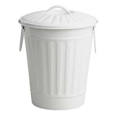 Matte White Retro Metal Trash Can