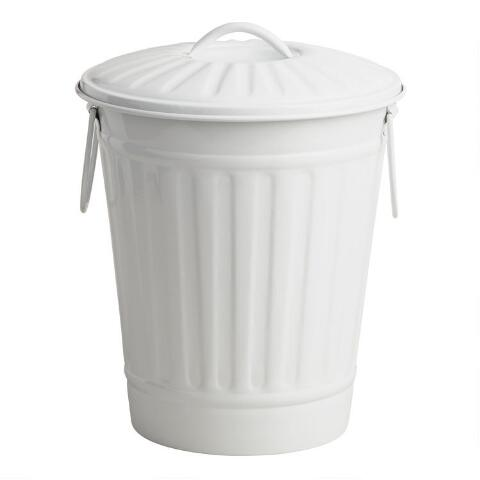 Matte White Retro Metal Trash Can World Market