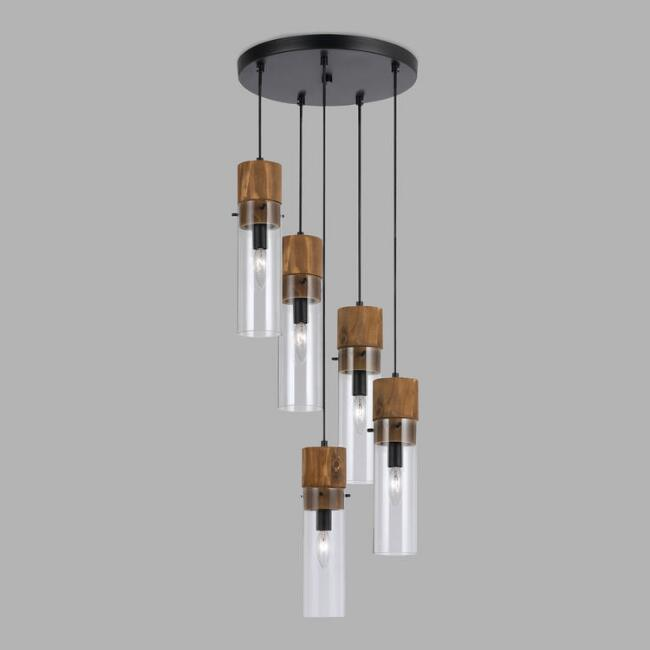 Wood and Glass Staggered 5-Light Pendant Lamp