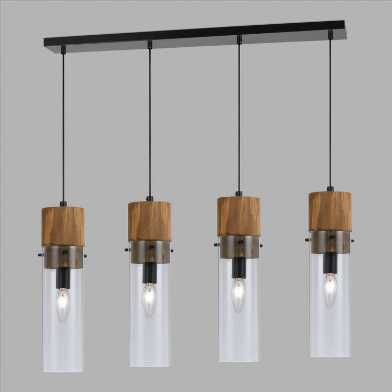 Wood and Glass 4 Light Pendant Lamp