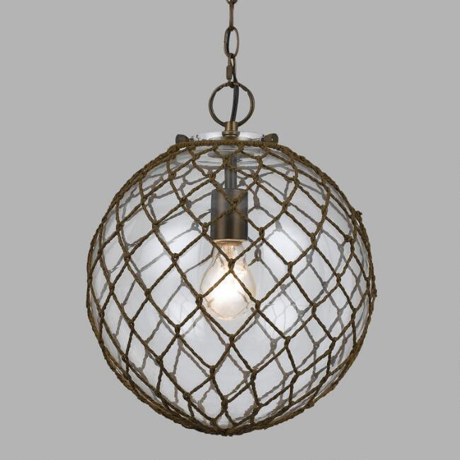 Round Rope-Wrapped Bubble Glass Burnett Pendant Lamp