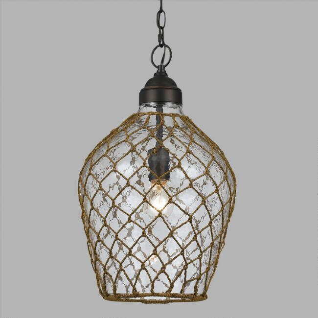 Oval Rope-Wrapped Bubble Glass Burnett Pendant Lamp