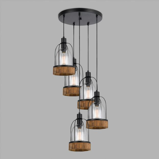Brand-new Wood and Glass Industrial Staggered 5-Light Pendant Lamp   World  JR87