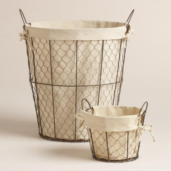 Lined Wire Charlotte Tote Baskets