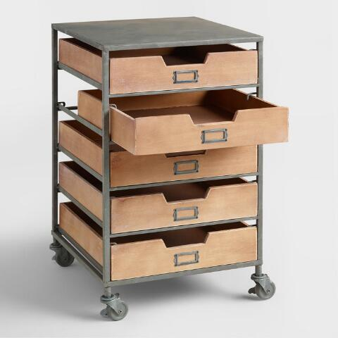 Stainless Cart Metal Rolling Utility Drawer