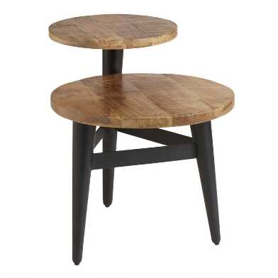 Wood And Black Metal 2 Tier Accent Table