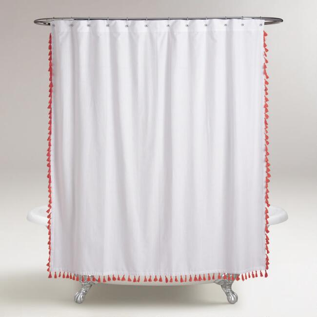 Coral Tassel Shower Curtain