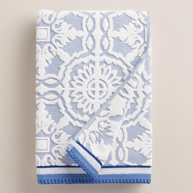 Mediterranean Blue Arden Tile Sculpted Bath Towel
