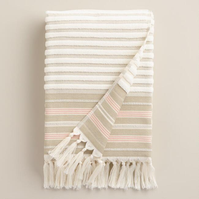 Sand French Stripe Sculpted Bath Towel