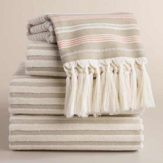 Sand French Stripe Sculpted Towel Collection