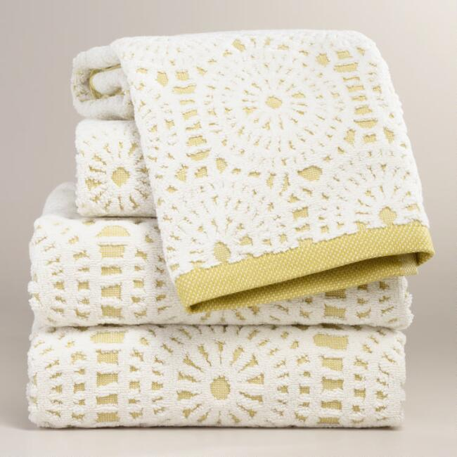 Moss Green Lydia Medallion Sculpted Towel Collection