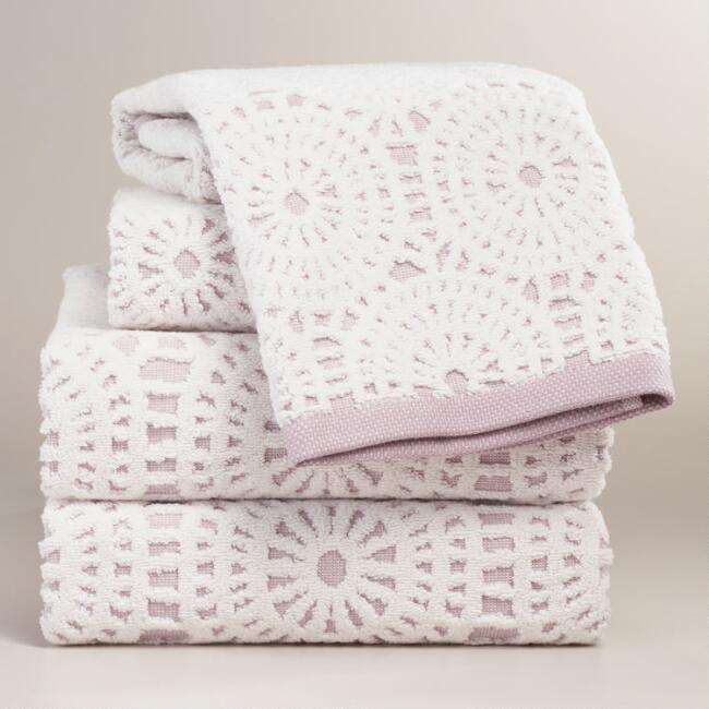 Lavender Lydia Medallion Sculpted Towel Collection