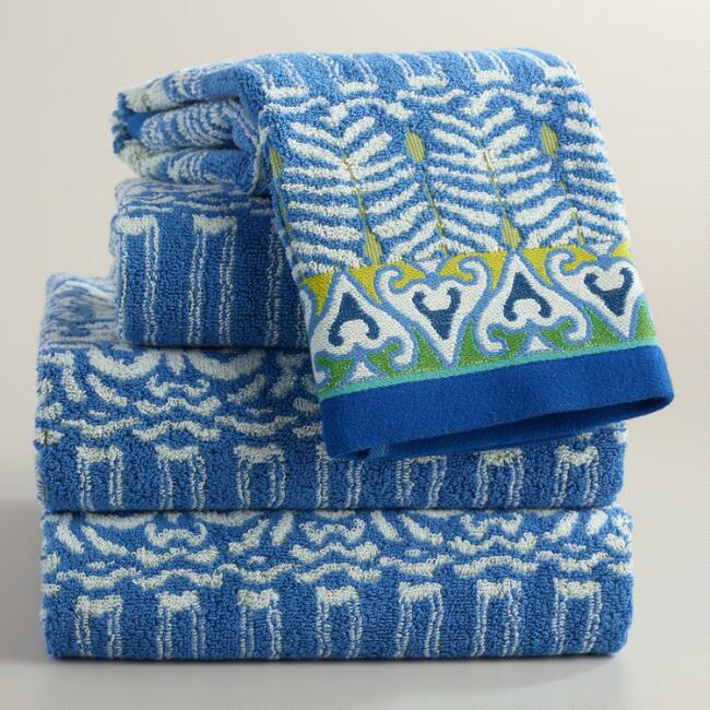 Mediterranean Blue Kasia Jacquard Towel Collection