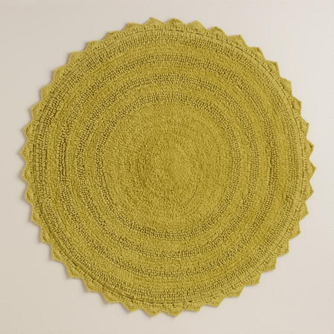 Round Moss Green Bath Mat