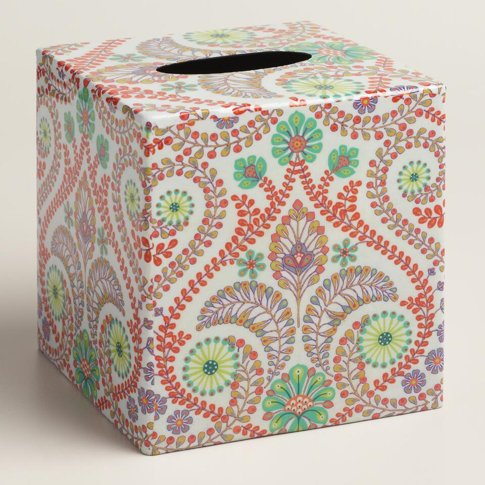 Coral Treetop Tissue Box Cover