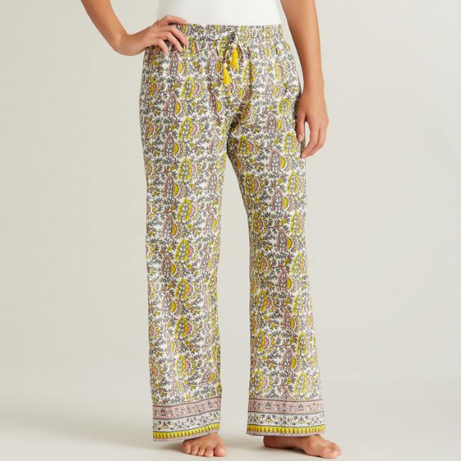 Pink and Yellow Floral Mishka Pajama Pants