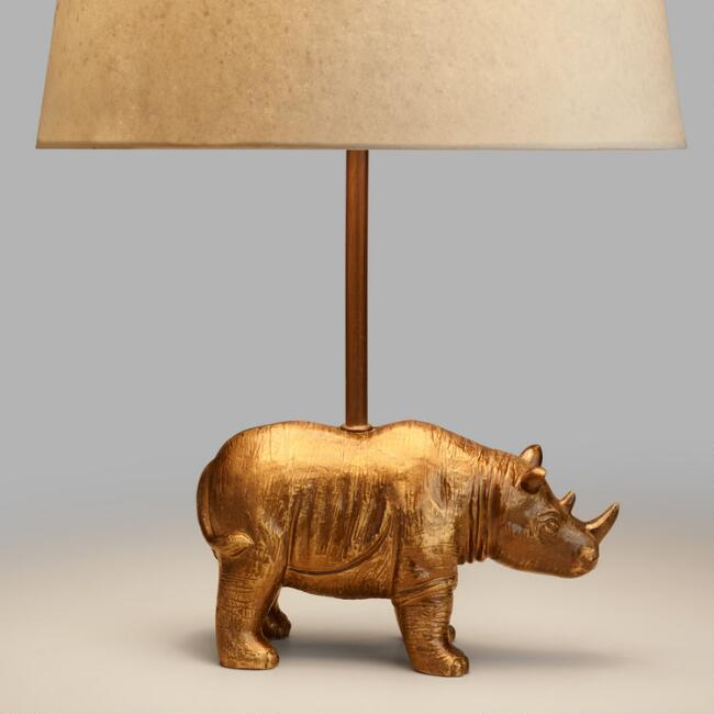 Brass Rhino Accent Lamp Base