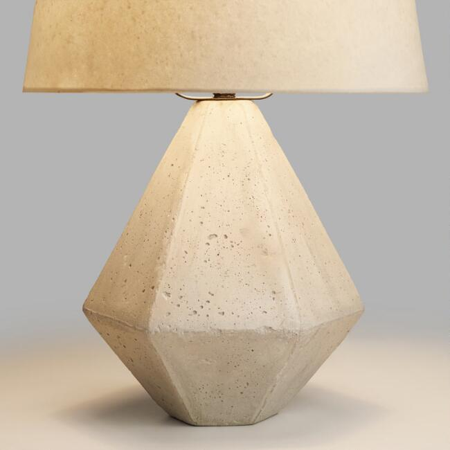 Concrete Diamond Accent Lamp Base