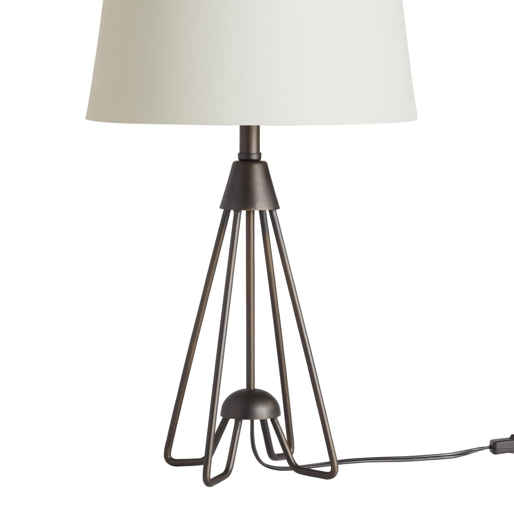 Black and brass telescoping table lamp base world market iron hairpin kent table lamp base geotapseo Image collections